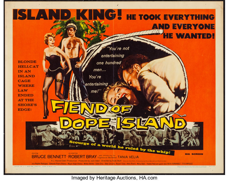 fiend of dope island essanjay 1959 half sheet 22 x lot