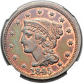 Proof Large Cents, 1845 1C PR62 Red and Brown NGC. N-14, High R.6....