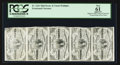 Fractional Currency:Third Issue, Vertical Strip of Five Fr. 1226 3¢ Third Issue No Pearls PCGS Apparent New 61.. ...
