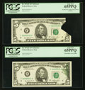 Error Notes:Printed Tears, Fr. 1974-F $5 1977 Federal Reserve Notes. Two Examples. PCGS Gem New 65PPQ.. ... (Total: 2 notes)