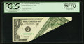 Error Notes:Foldovers, Fr. 1907-F $1 1969D Federal Reserve Note. PCGS Choice About New58PPQ.. ...