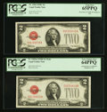 Small Size:Legal Tender Notes, Fr. 1504/Fr. 1505 $2 1928C Legal Tender Note/1928D Mule Legal Tender Note. PCGS Gem New 65PPQ and Very Choice New 64PPQ. Chang... (Total: 2 notes)