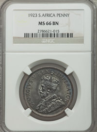 South Africa: George V Penny 1923 MS66 Brown NGC
