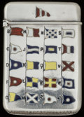 Silver Smalls:Match Safes, AN AMERICAN SILVER AND ENAMEL MATCH SAFE, circa 1899. 2-1/4 incheshigh (5.7 cm). 0.82 troy ounce. FROM THE ESTATE OF JOHN...