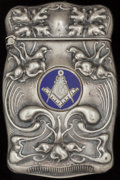 Silver Smalls:Match Safes, A GILBERT SILVER AND ENAMEL TRICK MATCH SAFE, North Attleboro,Massachusetts, circa 1900. Marks: STERLING G. 2-1/2 inche...