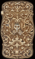 Silver Smalls:Match Safes, AN AMERICAN SILVER GILT AND ENAMEL SKULL & KEYS MATCH SAFE,circa 1900. Marks: STERLING. 2-1/2 inches high (6.4 cm).1.0...