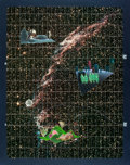 """Books:Original Art, [Production Art]. Unknown Artist. Celestial Collage Art """"Veil Nebula in Cygnus."""" From Colos Creative Art, published in Janua..."""
