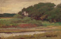 Fine Art - Painting, American:Modern  (1900 1949)  , MILTON HERBERT BANCROFT (American, 1867-1947). Stream Along aWooded Landscape. Oil on panel. 6 x 9-1/4 inches (15.2 x 2...