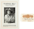 Advertising:Paper Items, Buffalo Bill and Pawnee Bill: A Rare Pass to Their Combined ShowSigned by Lillie (Pawnee Bill)....