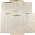 Miscellaneous:Newspaper, Battle of Little Big Horn: A Collection of 7 Different NewspaperFront Pages Reporting on the Battle....