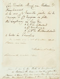 Autographs:Statesmen, Antoine D'Orleans Autograph Letter Signed. Text in French. Signedand dated: Portsmouth, October 14th, 1844. Origina...