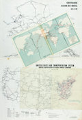 Books:Maps & Atlases, [Air Travel]. Group of Three Air Route Maps. Some published in American Heritage Atlas circa 1960s. One international, o...