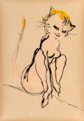 "Paintings, LEROY NEIMAN (American, 1921-2012). Blushing Pink, ""What's New, Pussycat?"", circa 1965. Watercolor, tempera and ink on b..."
