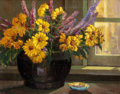 Texas, CHARLES TAYLOR BOWLING (American, 1891-1985). Late Afternoon,Petite Sunflowers with Lavender. Oil on canvas. 16 x 20 in...