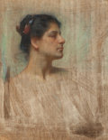 Works on Paper, GEORGE RANDOLPH BARSE (American, 1861-1938). Profile of a Lady in White, 1900. Pastel on canvas. 30 x 23-3/4 inches (76....