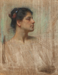 GEORGE RANDOLPH BARSE (American, 1861-1938) Profile of a Lady in White, 1900 Pastel on canvas 30