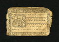 Colonial Notes:New York, New York September 2, 1775 $5 Very Fine, damaged. The body of this note is an attractive Very Fine or better with bold text ...