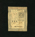 Colonial Notes:Pennsylvania, Pennsylvania October 1, 1773 15s Extremely Fine. A vertical andlateral fold are found on this note that shows soiling and a...