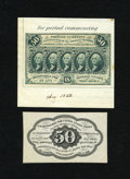 Fractional Currency:First Issue, Fr. 1313SP 50c Narrow Margin Specimen Pair First Issue Very Choice New. This is a lovely narrow margin specimen pair that is... (Total: 2 notes)