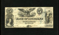 """Obsoletes By State:Louisiana, New Orleans, LA - Bank of Louisiana $5 May 22, 1862. This $5 carries the """"Forced Issue"""" blue overprint that was applied by o..."""