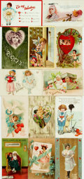 Miscellaneous:Postcards, [Post Cards]. Group of Thirteen Valentines, Circa 1903-1913.Various Publishers and dates. One unused. Some toning and edgew...