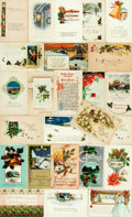Miscellaneous:Postcards, [Post Cards]. Group of Twenty-Five Christmas Themed Post Cards,Circa 1908-1929. Various publishers and dates. Two unused. S...
