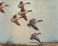 REVEAU BASSETT (American, 1897-1981) Canada Geese, 1930 Oil on canvas 24 x 30 inches (61.0 x 76.2