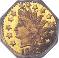 California Fractional Gold, 1852 50C Indian Octagonal 50 Cents, BG-962, Low R.7, MS66 PCGSSecure....