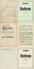 Books:Music & Sheet Music, [Sheet Music]. Six Pieces of Sheet Music. Includes selections byJ.C. de Arriaga, Hector Berlioz, Beethoven and d'Ambrosio. ...(Total: 4 Items)