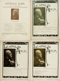 Books:Music & Sheet Music, [Sheet Music]. Leopold Auer. Four Books of Sheet Music. Variouspublishers, [ca. 1916]. Some soiling. Very good. . ... (Total: 4Items)
