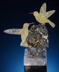 Lapidary Art:Carvings, YELLOW QUARTZ HUMMINGBIRD COUPLE on HEMATITE with RUTILE BASE.Artist: Peter Müller. Stone Source: Brazil &Worldwid... (Total: 3 Items)