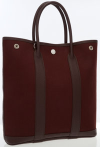 Hermes 30cm Havane Buffalo Leather & Canvas Garden Party Cabas Bag with Palladium Hardware