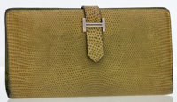 Hermes Vert Anis Lizard Bearn Wallet with Palladium Hardware