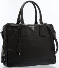 Prada Black Nappa Leather Antik Bauletto Bag
