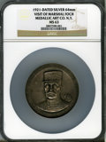 20th Century Tokens and Medals, 1921 Visit of Marshal Foch MS63 NGC. Silver, 64 mm. Medallic ArtCo. N.Y....