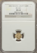 California Fractional Gold: , 1853 50C Liberty Round 50 Cents, BG-421, R.4, MS64 NGC. NGC Census:(5/3). PCGS Population (11/6). ...