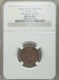 Civil War Merchants, 1863 Thomas White, New York, New York, MS63 Brown NGC,Fuld-NY630CH-1a; 1863 Remembrance of the War MS63 Brown,Fuld-24/246a; ... (Total: 3 tokens)