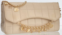 Chanel Beige Lambskin Leather Medium Flap Bag with Gold Charm Chain Strap