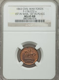 Civil War Patriotics, 1863 First in War, First in Peace, MS65 Red and Brown NGC,Fuld-174/272a; 1863 First in War, First in Peace, MS65 Brown NGC,F... (Total: 2 tokens)