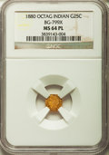 California Fractional Gold: , 1880 25C Indian Octagonal 25 Cents, BG-799X, R.3, MS64 ProoflikeNGC. NGC Census: (9/10). ...