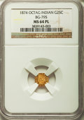 California Fractional Gold: , 1874 25C Indian Octagonal 25 Cents, BG-795, R.3, MS64 ProoflikeNGC. NGC Census: (9/12). ...