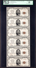 National Bank Notes:Pennsylvania, Crafton, PA - $5 1929 Ty. 2 The First NB Ch. # 6010 Uncut Sheet....
