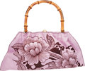 "Luxury Accessories:Bags, Gucci by Tom Ford Pink & Brown Floral Leather Tattoo ShoulderBag with Bamboo Handle. Excellent Condition . 15.5""Widt..."