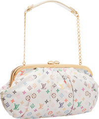 Louis Vuitton Limited Edition White Monogram Multicolore Satin Aumoniere Evening Bag Very Good Condition