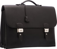 Hermes 40cm Black Togo Leather Sac A Depeches Briefcase Bag with Palladium Hardware Excellent Condition