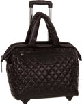 """Luxury Accessories:Bags, Chanel Black Quilted Nylon Coco Cocoon Trolley Travel Bag with Silver Hardware. Excellent Condition. 16"""" Width x 13"""" H..."""
