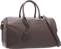 """Luxury Accessories:Bags, Saint Laurent Gray Leather Duffle 6 Bag with Shoulder Strap .Excellent to Pristine Condition . 14.5"""" Width x 8""""Heigh..."""