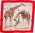 """Luxury Accessories:Accessories, Hermes 140cm Brown & Red """"Les Girafes,"""" by Robert Dallet Cashmere and Silk Scarf. Pristine Condition. 56"""" Width x 56"""" ..."""