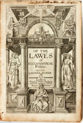 Books:Religion & Theology, Richard Hooker. Of The Lawes of Ecclesiastical Polity. London: William Stansbye, [n.d., ca. 1600]. Contemporary calf...