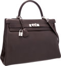 """Luxury Accessories:Bags, Hermes 35cm Chocolate Swift Leather Retourne Kelly Bag with Palladium Hardware . Excellent Condition . 14"""" Width x 10""""..."""